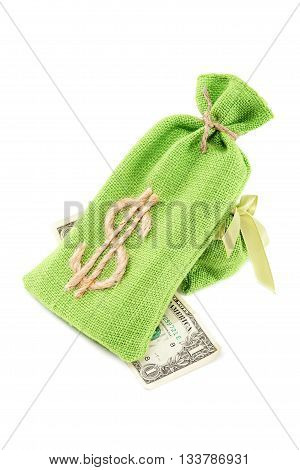 Bags with money isolated on white background.