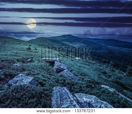 Stones And Boulders In  Hight Mountains At Night
