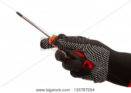 Screwdriver in hand with gloves isolated on white background.