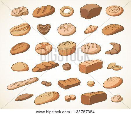 Vector set of baking: muffin, bread, loaf, croissant, pretzel, bun, ciabatta