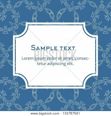 Vector background with frame and celtic ornament. Template for menu gift card or packing. Pattern in blue colors.