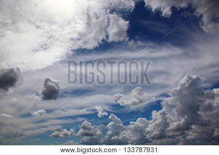 Blue sky with white cumulus a clouds.
