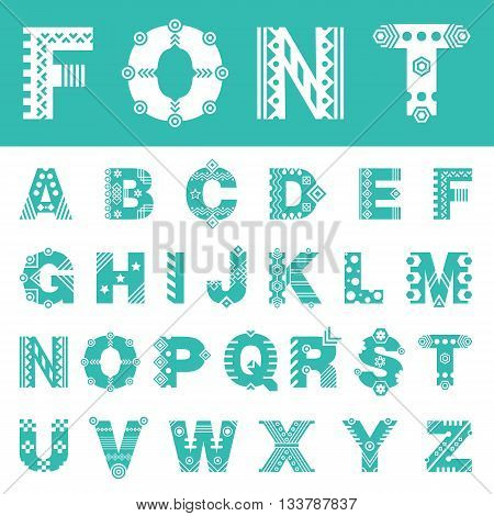 Decorative font with ornament. Vector alphabet set consists of uppercase latin letters. Vector typeface for headers