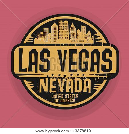Stamp or label with name of Las Vegas, Nevada, vector illustration