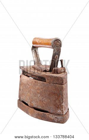 Old iron isolated on the white background.
