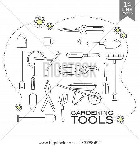Set of line icons - gardening tools. Web site design. Logo icons.