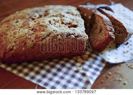 Tilt Shift artisan bread closeup on a table
