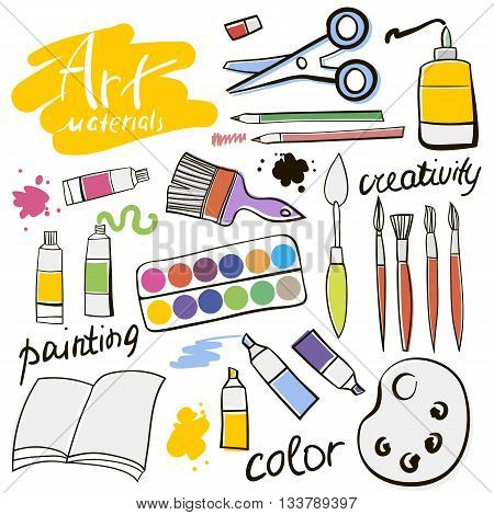 Doodle colored art materials collection.