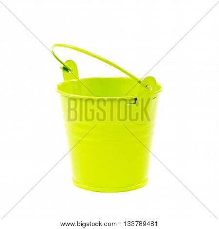 Decorative floral green bucket isolated on a white background.