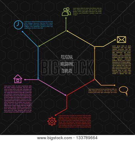 Infographic scheme in polygonal shape. Vector infographic template illustration