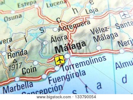 Map with focus set on Malaga, Spain.