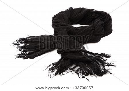 Black scarf with tassels isolated on white background.