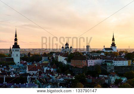 Three orthodox churches in the old town of Tallinn, Estonia