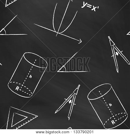 Seamless pattern back to school. Vector black blackboard written with white chalk schedule, formula, line, triangle, cylinder, compass and angle. Mathematical background for design tutorials