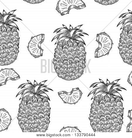 Pineapple pattern in engraving style. Monochrome texture with pineapple. Perfectly look on fabric textile etc. Vector Illustration
