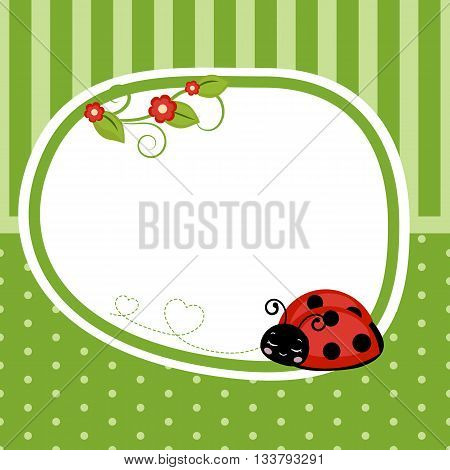 Greeting card with ladybug. Green background with stripes and polka dots.