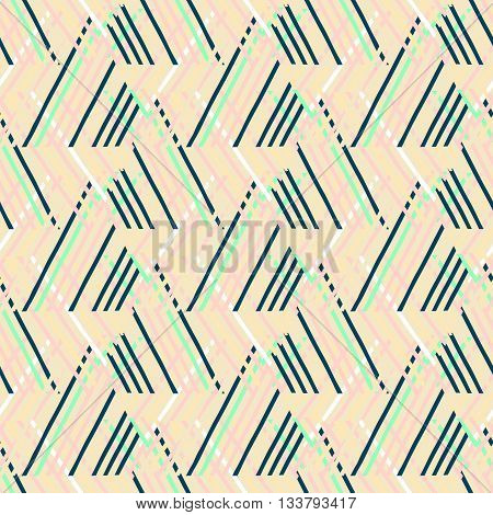 Vector seamless geometric pattern with striped triangle, abstract dynamic shape in bright color. Hand drawn background with overlapping lines in 1980s fashion style. Modern textile print in beige
