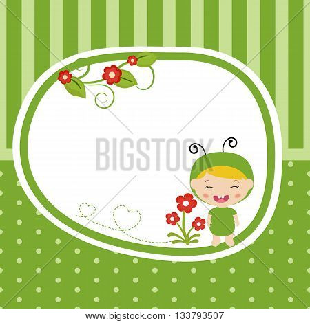 Greeting card with baby dressed as grasshopper. Green background with stripes and polka dots.