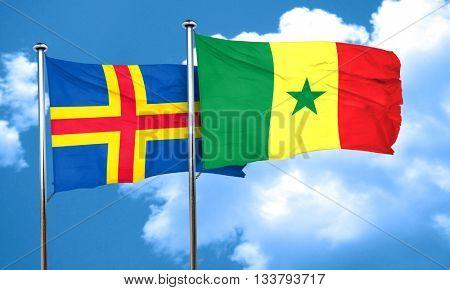 aland islands with Senegal flag, 3D rendering