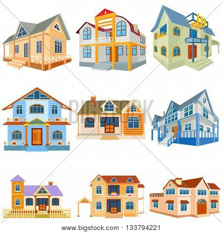 vector illustration of set of different residential bildong and bungalow