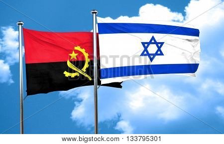 Angola flag with Israel flag, 3D rendering