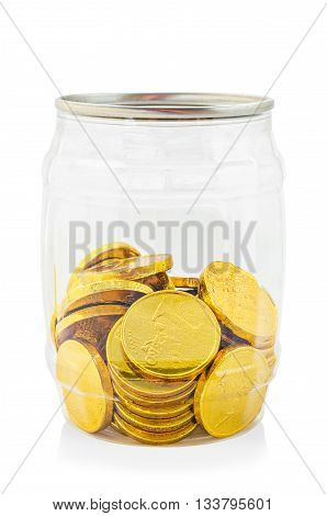 Gold chocolate coin in bottle isolated on white background Save clipping path.