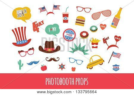 costume props for independence day of America. themed photo booth party. vector illustration
