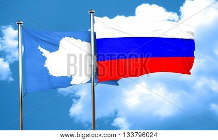 antarctica flag with Russia flag, 3D rendering