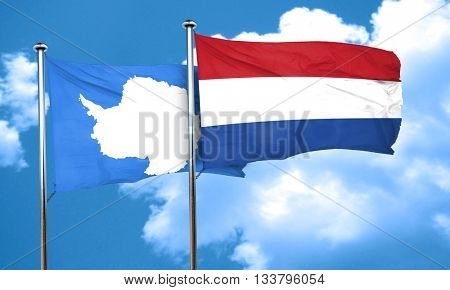 antarctica flag with Netherlands flag, 3D rendering