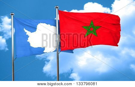 antarctica flag with Morocco flag, 3D rendering