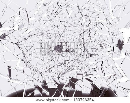 Crime Scene Shattered Glass Over White