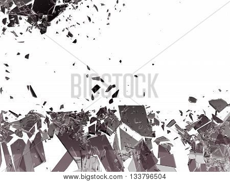 Pieces Of Broken Or Shattered Glass Isolated On White