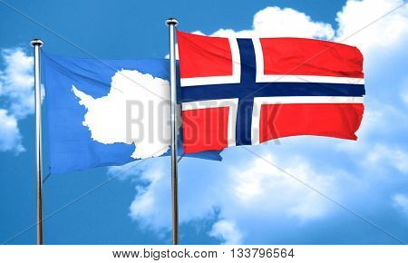 antarctica flag with Norway flag, 3D rendering