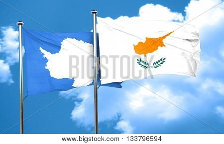 antarctica flag with Cyprus flag, 3D rendering