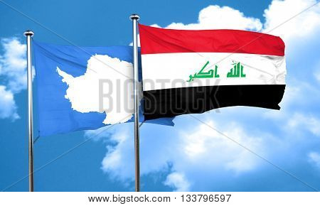 antarctica flag with Iraq flag, 3D rendering