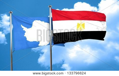 antarctica flag with egypt flag, 3D rendering