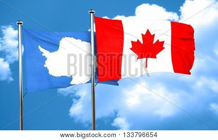 antarctica flag with Canada flag, 3D rendering