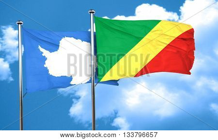 antarctica flag with congo flag, 3D rendering