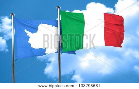 antarctica flag with Italy flag, 3D rendering