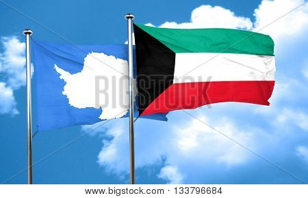 antarctica flag with Kuwait flag, 3D rendering