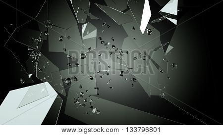 Shattered Or Splitted Glass Pieces On Black