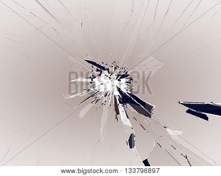 Broken Glass With Bullet Hole On White