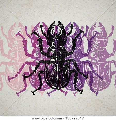Vector stag-beetles in abstract composition. Linocut stag-beetles in different colors on the old paper