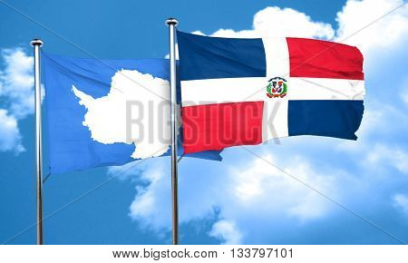 antarctica flag with Dominican Republic flag, 3D rendering