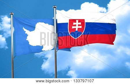 antarctica flag with Slovakia flag, 3D rendering