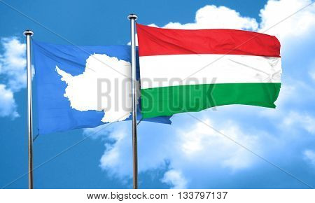 antarctica flag with Hungary flag, 3D rendering