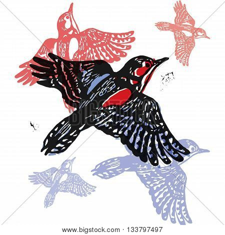 Vector woodpeckers in abstract composition. Linocut woodpeckers in flight in different colors on white background