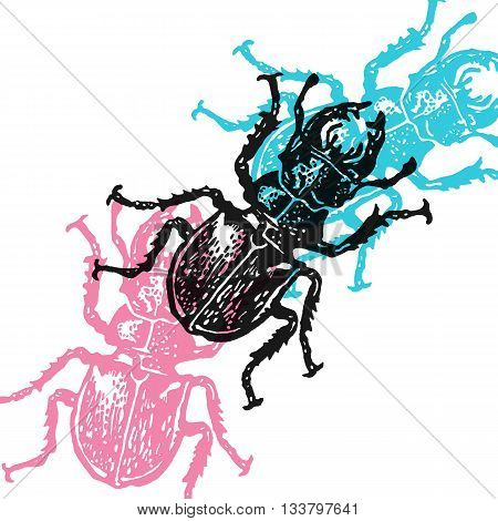Vector stag-beetles in abstract composition. Linocut stag-beetles in different colors on white background