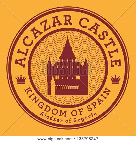 Stamp or label with text Alcazar Castle, Spain, vector illustration
