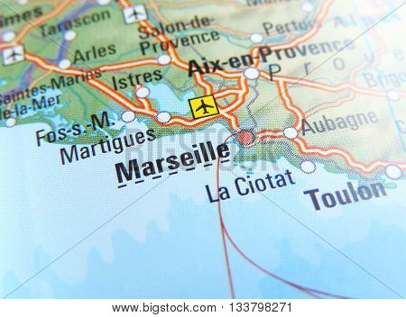 Map with focus set on Marseille, France.